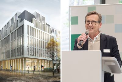 left: Visualisation of the PSD Bank Cologne, right: HPP Senior Partner Remigiusz Otrzonek speaking at the opening of the PSD Bank